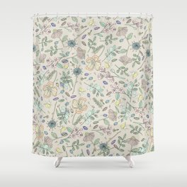 Country Flowers - Tan Shower Curtain
