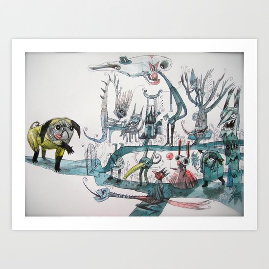 Dream world is filled with all kinds of strange... Art Print