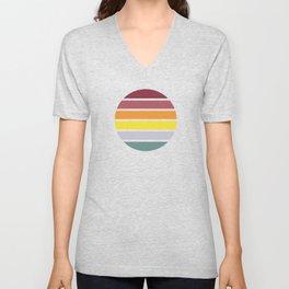 Classic Abstract Retro Striped Summer Sunset Circle - Emigiku Unisex V-Neck