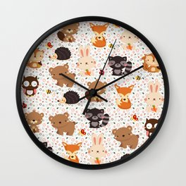 Woodland Nursery Pattern Wall Clock