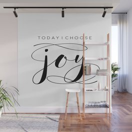 Today I Choose Joy wood sign, farmhouse decor, rustic, vintage, Bible verse, home and living Wall Mural