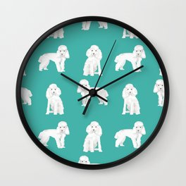 Toy poodle white poodles dog breed pet portrait pattern gifts pet friendly Wall Clock