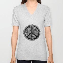 Zen Doodle Peace Symbol Black And White Unisex V-Neck