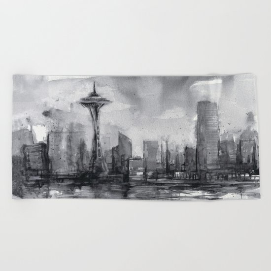 Seattle Skyline Painting Watercolor Black and White Space Needle Beach Towel