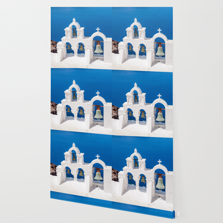 Oia Santorini Greece Church Bells Wallpaper