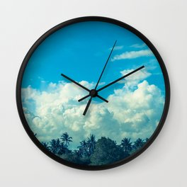 Clouds and Palmtrees Wall Clock