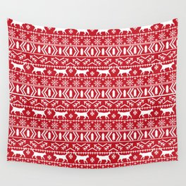 Cat sweater fair isle ugly sweater with cat christmas holiday decor gifts for cat person Wall Tapestry