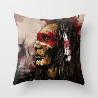 native Throw Pillows featuring Native by DGundlachDesigns