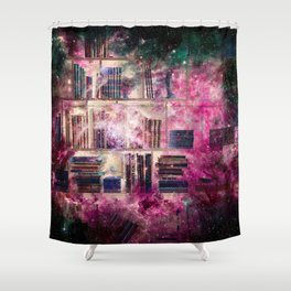 Stardust Library Shower Curtain