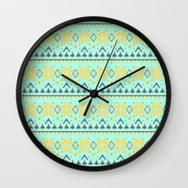 Knitted Christmas pattern turquoise Wall Clock
