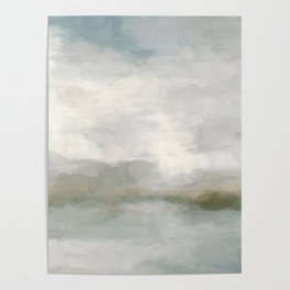 Modern Abstract Painting, Light Teal, Sage Green, Gray Cloudy Weather Digital Prints Wall Art, Ocean Poster