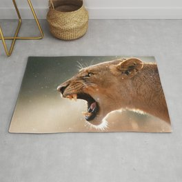 Phenomenal Stunning Female African Lion Roaring Head Profile Close Up Ultra HD Rug