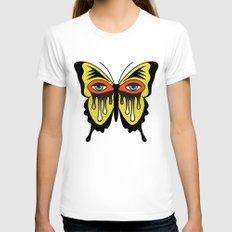 BUTTERFL-EYE Womens Fitted Tee White SMALL