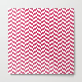 Cerise Red Herringbone Pattern Metal Print