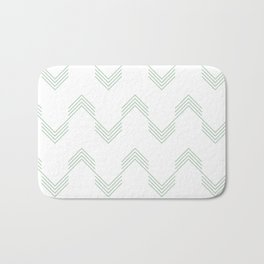 Deconstructed Chevron in Pastel Cactus Green on White Bath Mat