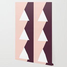 Elegant blush pink & burgundy geometric triangles Wallpaper