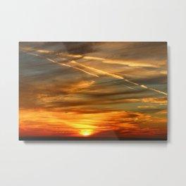 Fiery Sunset Over Naples Beach Metal Print