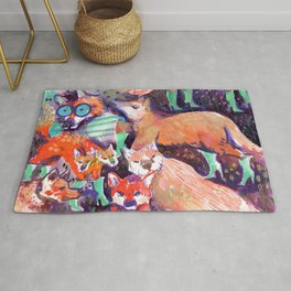 maned wolf in turquoise booties Rug