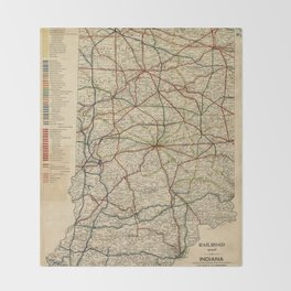 Vintage Map of The Indiana Railroad System (1896) Throw Blanket