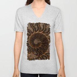 Brown Ammonite Unisex V-Neck