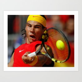 Rafa Nadal in action Art Print