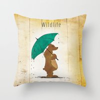 wildlife Throw Pillows featuring Wildlife by AhaC