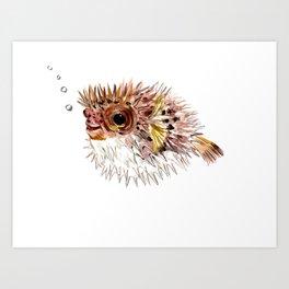 Little cute Fish, Puffer fish, cut fish art, coral aquarium fish Art Print