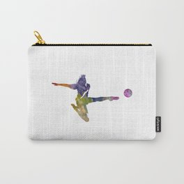 Woman soccer player 04 in watercolor Carry-All Pouch