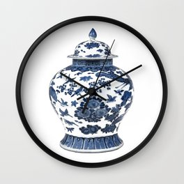 Blue & White Chinoiserie Porcelain Ginger Jar with Birds & Flowers Wall Clock