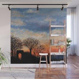 Winter Silhouette Sunset Wall Mural
