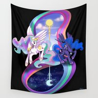mlp Wall Tapestries featuring Sun and Moon Sisters by Red Red Telephone
