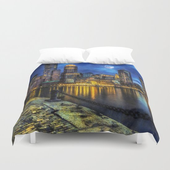 Downtown At Night Duvet Cover