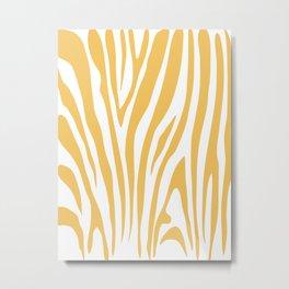 6-311-1 Yellow & White, Decorative Zebra Stripes, Boho decor Metal Print