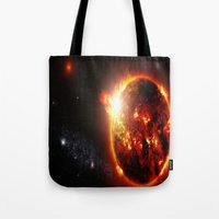 planet Tote Bags featuring Galaxy : Red Dwarf Star by 2sweet4words Designs