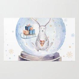 Christmas bunny #3 Rug