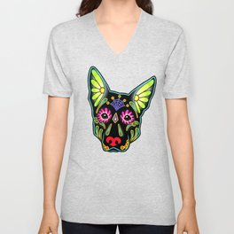 German Shepherd in Black - Day of the Dead Sugar Skull Dog Unisex V-Neck
