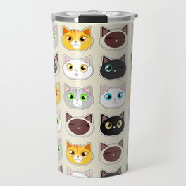Cute Cat Expressions Pattern Travel Mug