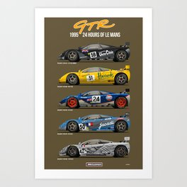 The McLaren 5 - 1995 Le Mans Winner + 4 Finishers Art Print