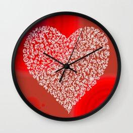Filigree Heart Red Bubbling Love Wall Clock