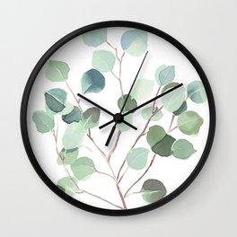 Eucalyptus Leaves Botanical Print Wall Clock