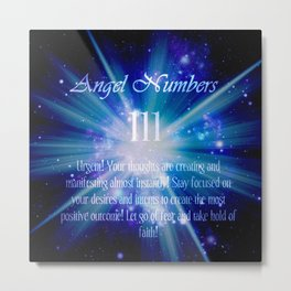 111 Angel Numbers Blue Motivational Affirmation Metal Print