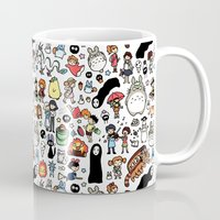 kawaii Mugs featuring Kawaii Ghibli Doodle by KiraKiraDoodles