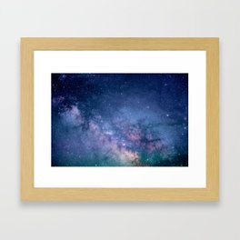 Purple Glitter Galaxy Framed Art Print