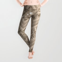 Sepia Glitter Chevron #1 #shiny #decor #art #society6 Leggings
