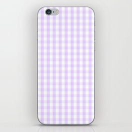 Chalky Pale Lilac Pastel and White Gingham Check Plaid iPhone Skin
