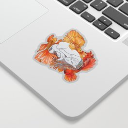 Cat and Golden Fishes Sticker