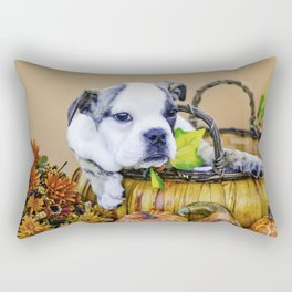Maybelle the English Bulldog in an Autumn Basket Rectangular Pillow