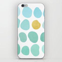 Aqua Pebbles & gold iPhone Skin