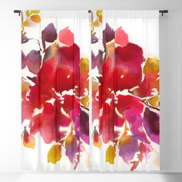Abstract paintings, red botanical watercolor Blackout Curtain