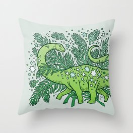 Winter Solstice Sauropod | Evergreens Palette Throw Pillow